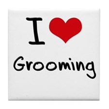 I Love Grooming Tile Coaster