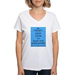 Keep Calm Worldport Women's V-Neck T-Shirt