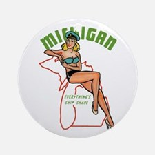 Michigan Pinup Ornament (Round)
