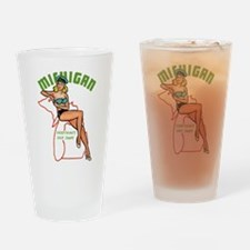 Michigan Pinup Drinking Glass