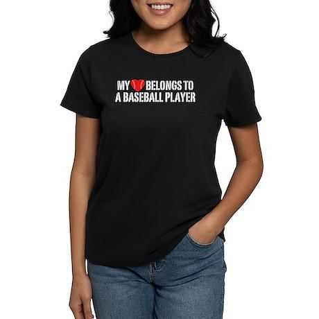 My Heart Belongs To A Baseball Player Women's Dark