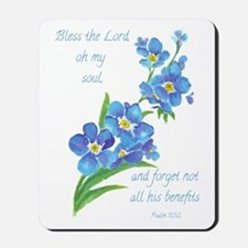 Forget Me Not Flowers With Scripture Mousepad