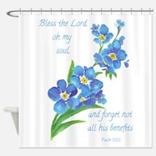 Forget Me Not Flowers with Scripture Shower Curtai