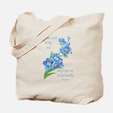 Forget Me Not Flowers with Scripture Tote Bag