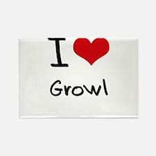 I Love Growl Rectangle Magnet