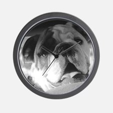 Bulldog in B&W Wall Clock