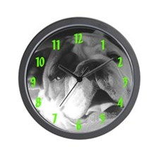 Bulldog in B&W Wall Clock