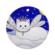 White CAT Fairy Princess Porcelain Ornament