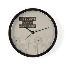 Believe in Wishes Dandelions Wall Clock