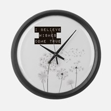 Believe in Wishes Dandelions Large Wall Clock