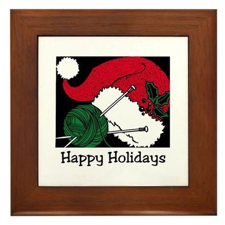 Knitters Happy Holidays Framed Tile