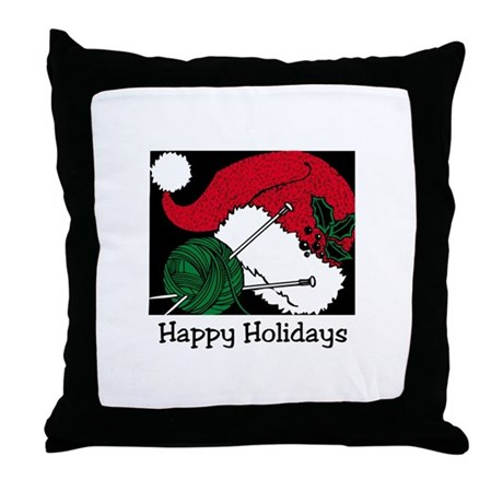 Knitters Happy Holidays Throw Pillow