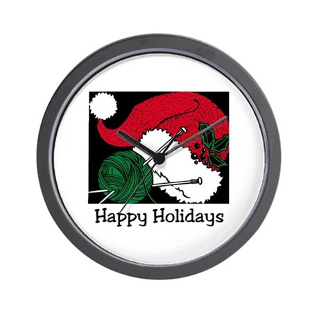 Knitters Happy Holidays Wall Clock