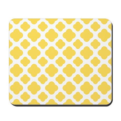 Lemon Yellow and White Quatrefoil Pattern Mousepad