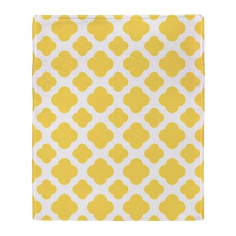 Lemon Yellow And White Quatrefoi Throw Blanket By