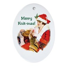 Knitters Christmas - Merry Knit-mas Ornament (Oval