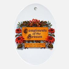 Season Greeting Oval Ornament