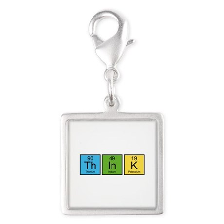 Think Silver Square Charm