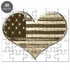 Vintage USA Heart Flag Puzzle