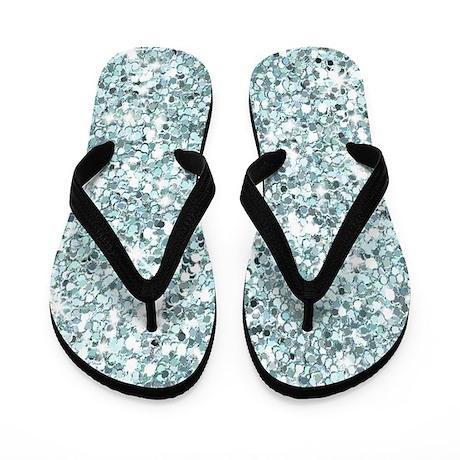 Blue Silver Glitter Sequin Flip Flops Wedding