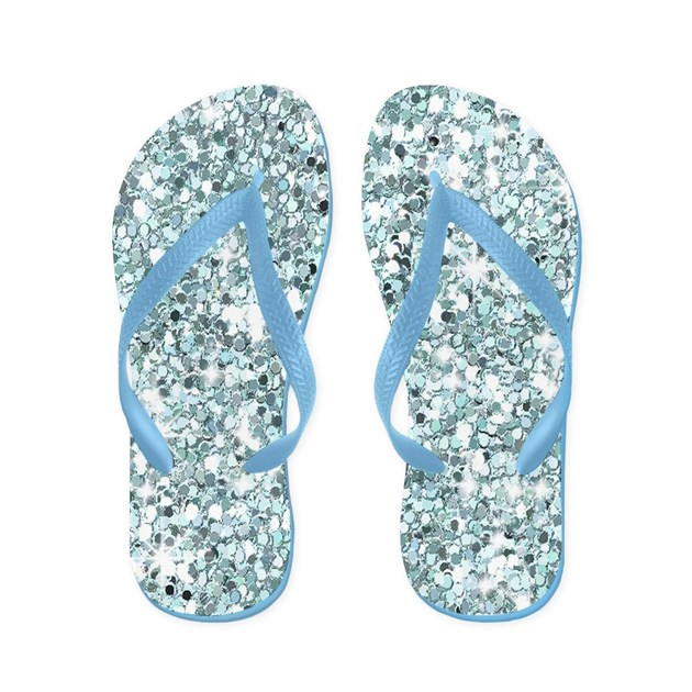 Blue Silver Glitter Sequin Flip Flops Wedding By Iflipforflops