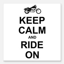 """Keep Calm and Ride On Square Car Magnet 3"""" x"""