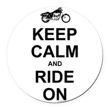 Keep Calm and Ride On Round Car Magnet