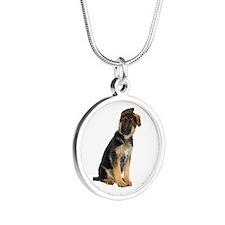 German Shepherd! Silver Round Necklace