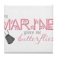 butterfliesusmc.png Tile Coaster