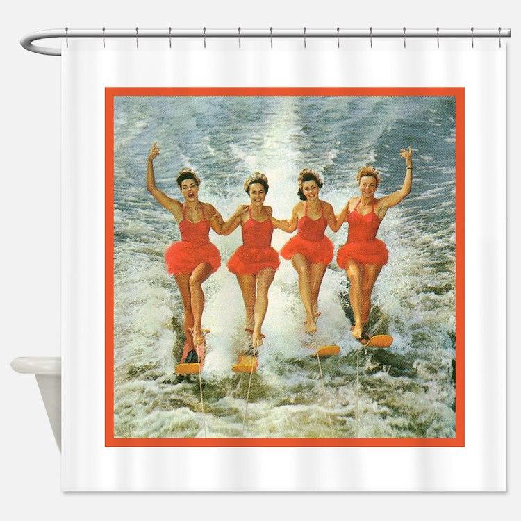 4 waterskiers Shower Curtain