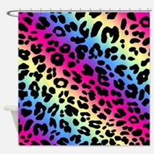 Neon Leopard Print Shower Curtain