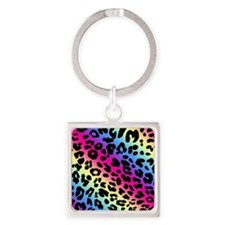 Neon Leopard Print Square Keychain