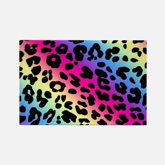 Neon Leopard Print Rectangle Magnet