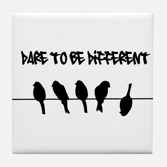 Dare to be Different Birds on a wire Tile Coaster