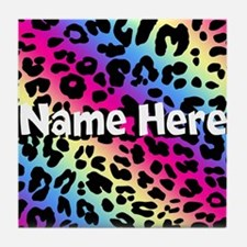 Personalized Rainbow Leopard Tile Coaster