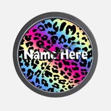 Personalized Rainbow Leopard Wall Clock
