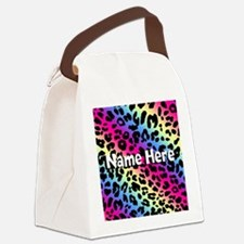 Personalized Rainbow Leopard Canvas Lunch Bag