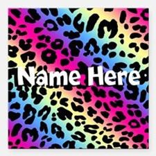 Personalized Rainbow Leopard Square Car Magnet 3""