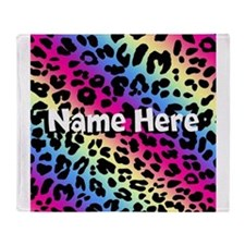 Personalized Rainbow Leopard Throw Blanket