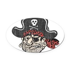 Throwback Pirate Oval Car Magnet