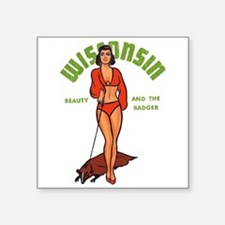 "Vintage Wisconsin Pinup Square Sticker 3"" x 3"""