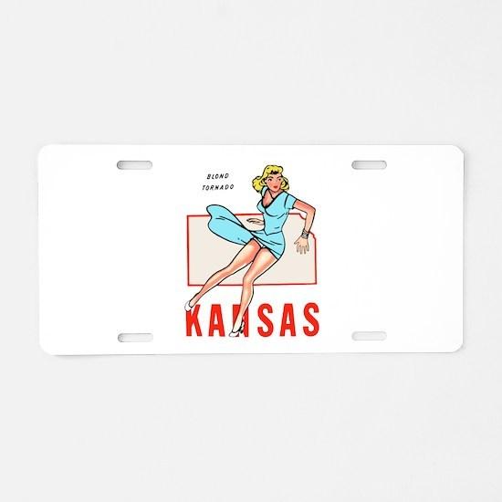 Vintage Kansas Pinup Aluminum License Plate