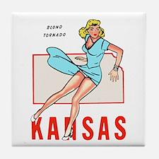 Vintage Kansas Pinup Tile Coaster