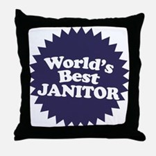 Worlds Best Janitor Throw Pillow