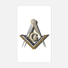 Masonic Square and Compass Sticker (Rectangle)