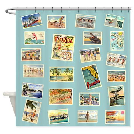 Superior Vintage Florida Postcards Shower Curtain