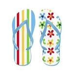 Colorful Flowers and Stripes Flip Flops