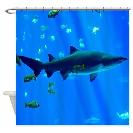 Black tipped shark shower curtain by sportsmanhill