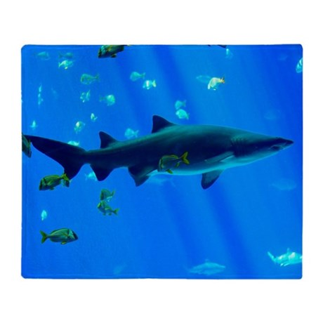 Black Tipped Shark Throw Blanket