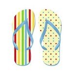 Colorful Stripes and Polka Dots Flip Flops